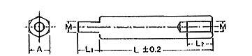 真鍮6角スペーサー 片ビス付(SKタイプ)